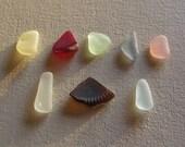 Sea glass or beach glass from Malibu, 8 piece (lemon yellow, deep red, seafoam, grey, soft pink, amber, and moonstone) pendant  assortment.