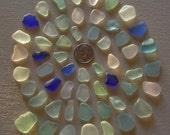 Sea glass or beach glass from Malibu, aqua, seafoam, cobalt blue, and moonstone assortment.