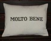 Cotton Pillow Cover - Italian MOLTO BENE, 12x16 inch