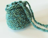 Aqua Teal Blue Knitted Drawstring Pouch Bag - versatile as travel bag, gift bag, toy sack, lunch tote