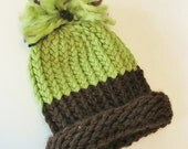 SALE Apple Green & Chocolate Brown Chunky Knitted Baby Newborn Pom Pom Hat - makes a perfect photo prop
