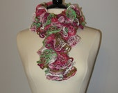 Ruffle Scarf, Lace, Pink and Green, Savannah