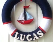 12 Inch Red Blue and White Nautical Theme Wreath
