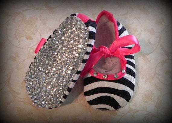 Infant Zebra Sparkle Shoes Size 0-6 months