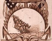 Nautical Woodburning / Clipper & Eagle
