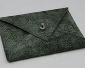 Select / Limited: Small Pine Tree Green Suede Envelope Business Card Holder