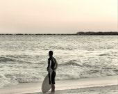 Surfer and the Silver Sea at Sunset -- 5x5 fine art photograph print silver black orange tint beach shore seascape coastal metallic warm