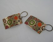 Embossed Brass Rectangular Earrings With Painted Circle And Ring Pattern - Earth Tones