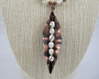 Fold Formed Copper And Fresh-water Pearl Pea Pod Necklace