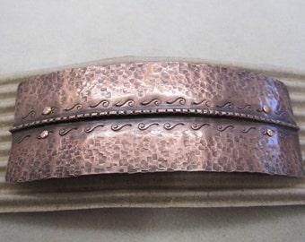 Fold form Copper Textured Barrette