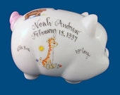 Personalized Handpainted Porcelain Piggy Bank with Animal Design-Baby Gift