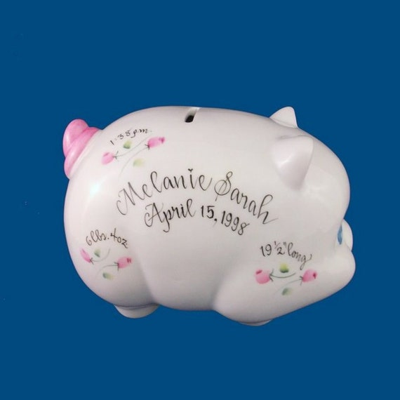 Baby Gift Piggy Bank : Personalized porcelain piggy bank with handpainted