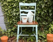 Antique Turquoise Painted Chair
