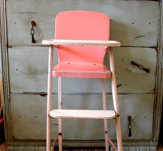 Vintage Pink and Cream Cosco Metal Doll High Chair