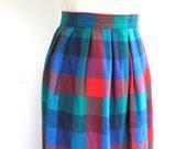 Vtg 1960s Pendelton Plaid Full Length Skirt