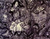 "Fine Art Print ""Dreams in a hammock"" Ink Drawing"