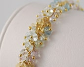 Pastel Blue Aquamarine Jewelry Gold Multicolor Gemstone Bridal Wedding Bracelet  - Forget Me Not - Free Shipping