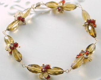 Gemstone Bracelet Fall Wedding Jewelry Cognac Quartz Red Garnet Gold Autumn - Fireside - Complimentary Shipping