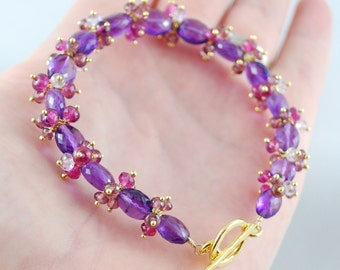 Gemstone Bracelet, Genuine Purple Amethyst, February Birthstone, Gold Wedding Jewelry - Summer Blooms - Complimentary Shipping