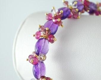 Gemstone Bracelet, Genuine Purple Amethyst, February Birthstone, Gold Wedding Jewelry - Summer Blooms - Complimentary Shipping