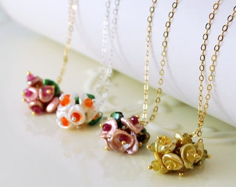 Bridesmaid Necklace Set Keishi Freshwater Pearl Flower Blossom Garden Wedding Jewelry Gemstone Sterling Silver Gold Free Shipping
