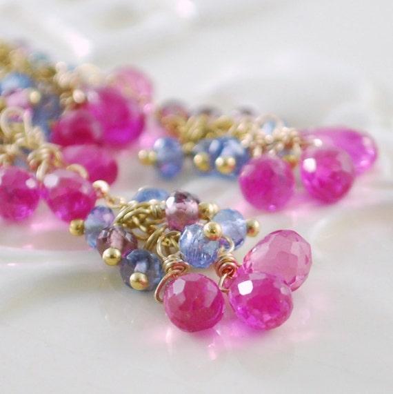 Hot Pink Wedding Earrings Bright Fuchsia Gemstone Long Dangle Gold Jewelry - Sweet Peas - Complimentary Shipping