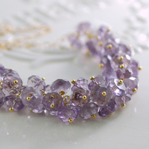 Genuine Amethyst Necklace Semiprecious Gemstone Cluster Gold or Silver Wedding Jewelry - Lilacs - Complimentary Shipping