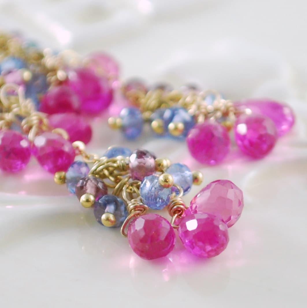 pink wedding earrings bright fuchsia gemstone dangle