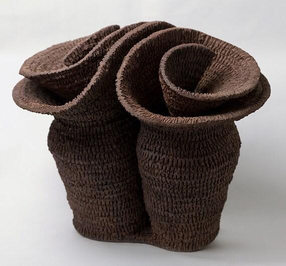 "Cerámica escultura abstracta, ""Doble espiral"""