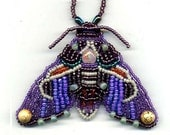 Purple Hawkmoth Bead Embroidered Brooch
