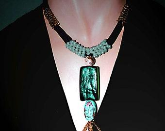 Green Chinese Velvet  Beaded Necklace