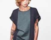 Vintage Inspired T-shirt Grey Viscose Rayon Yarn and Cotton / One Size Fits All - round neck, short sleeved DIABLO