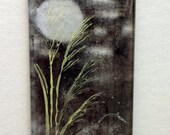 Japanese Grass and Full Moon - Original Fused Glass Powder and Enamel Painting
