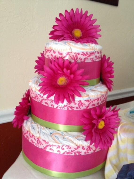 Pink Flowered Three Tiered Diaper Cake