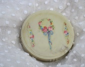 50% OFF SALE Vintage Celluloid Vanity Powder Jar Ivory Floral Cabbage Rose Decal Dresser Jar
