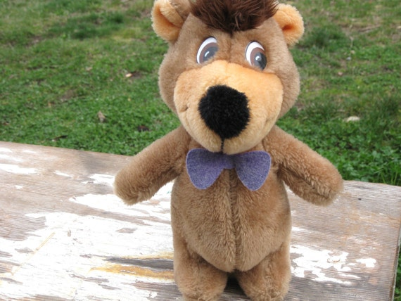 SALE 25% OFF Vintage Hanna Barbera Boo Boo Bear Yogi Bear Stuffed Toy Mighty Star Cartoon Retro 1970s 1980s
