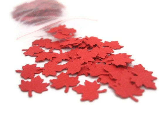 Red Canadian Maple Leaf Confetti: 200 Mini Maple Leaves