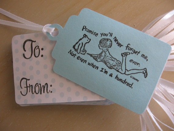 Farewell Party Classic Pooh Stamped Gift Tags: 16 Blue & Polka Dot with Pooh and Christopher Robin