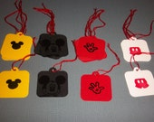 Disney tag set of 20 with mickey, mouse head, glove and shorts embossed for cards, parties, scrapbooking or cupcake toppers