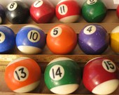 Pool balls smalll size vintage 14 missing the one ball