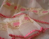 Vintage cafe curtains sheer with pink and lace and ruffles very sweet 2 panels 28 x 28