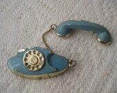Midcentury rotary phone two piece blue and gold lapel pin