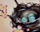 Wall art for Girls Bedroom - Personalized Cherry Tree Blossom Nest - Large 13 x 19 Inch Giclee Print by Nancy Jean