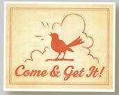 Gift for Him - Retro Funky Kitchen Wall Print - 8 x 10 Original Design - Typography Bird Red