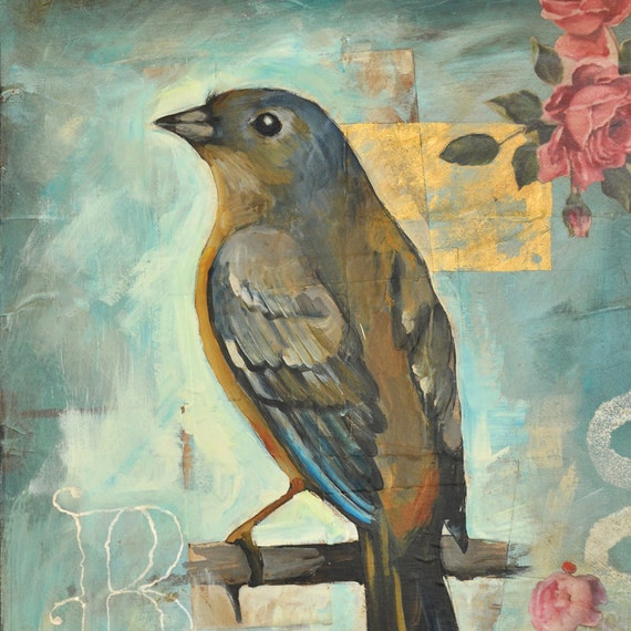 Bird Print - 13 x 19 Inch - Vintage Rose Bunting - Shabby Chic