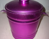Fabulous Vintage Electric Purple Aluminum Ice Bucket Nice Condition Made in Italy