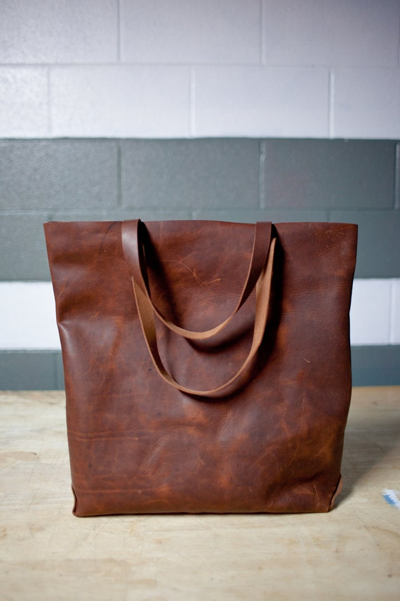 Hand Sewn Leather Tote (Dark Brown)