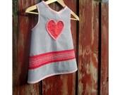 Children's Valentine Apron: Grey Seersucker with Pom Pom Trimmed Heart  (Size 2-5)