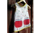 Children's Apron: Red Heart& Floral with Red Patch Pockets and Rick-Rack(size 2-5)