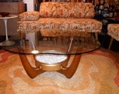 Italian Danish Modern Coffee Table with Planter under Glass Top